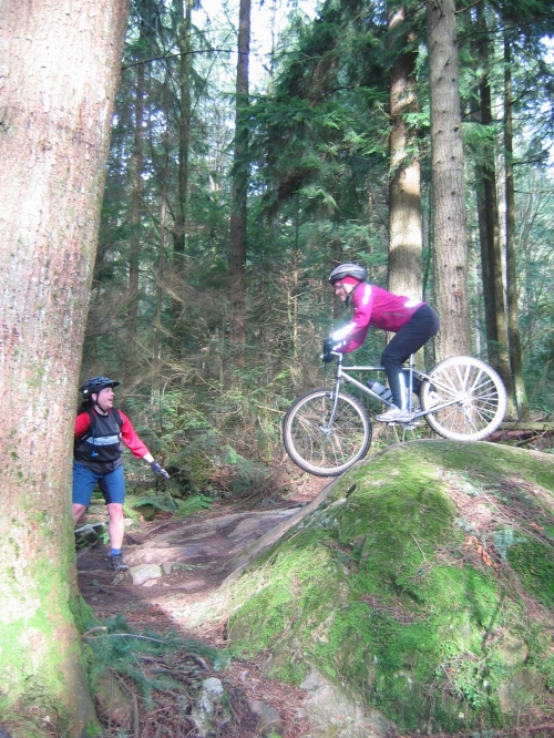 Julie's first Single Track Mountain Bike Ride Ever on Seymour Mountain