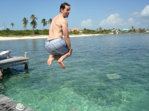Dave Jumping into the Ocean in Belize