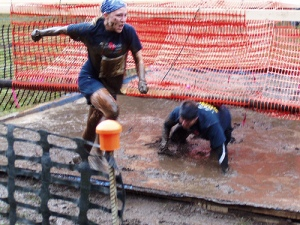 Mud N Bud 2008 - Dave and I heading to the finish line